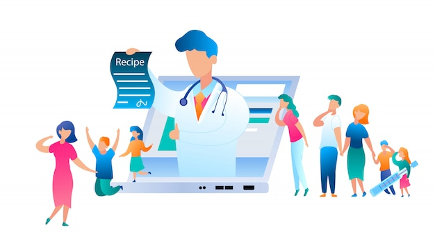 Vector doctor online has written treatment recipe. illustration group people turned help to pediatrician. family with sick child. use laptop for communication doctor. mom with son and daughter jumping Premium Vector