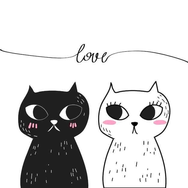 Vector of doodle love cat. Premium Vector