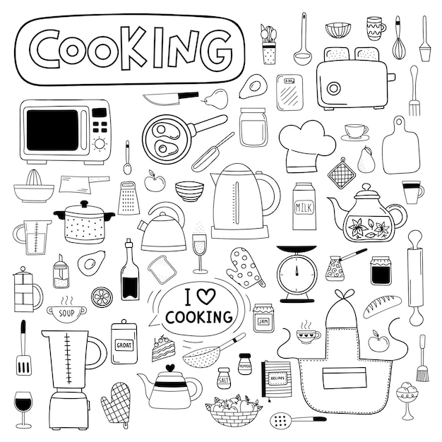 Vector doodle set of kitchen utensils Premium Vector