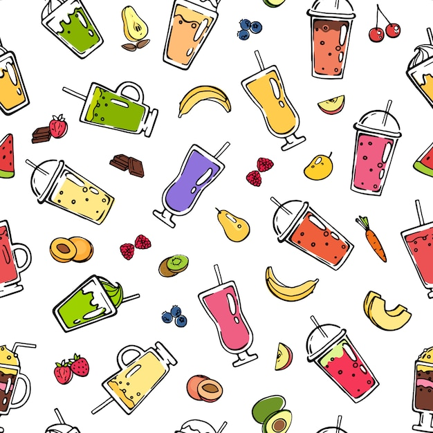Vector doodle smoothie seamless pattern Premium Vector