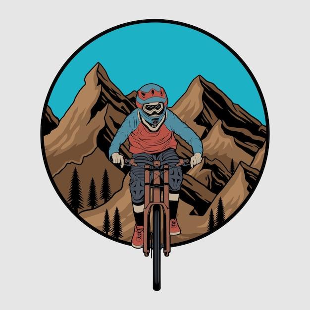 Вектор горных велосипедов значок, этикетка с всадником на велосипеде. иллюстрация скоростного спуска Premium векторы