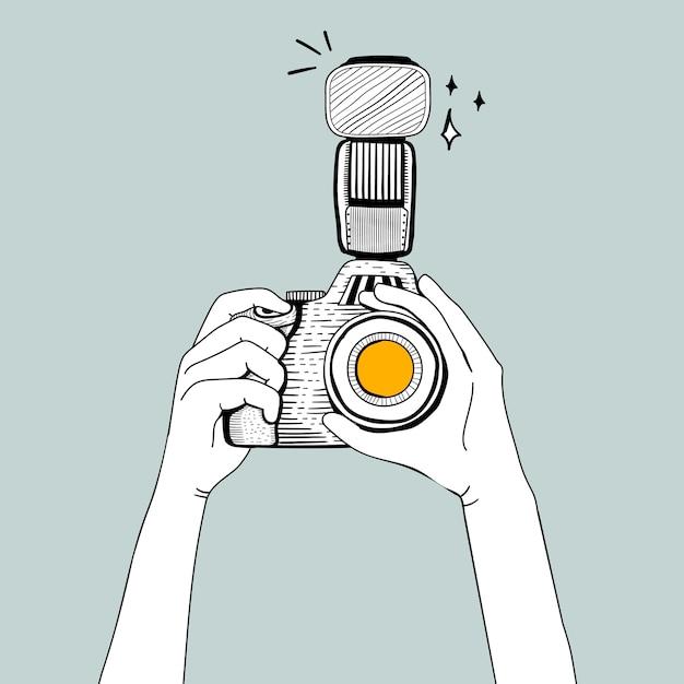Vector of dslr camera Free Vector