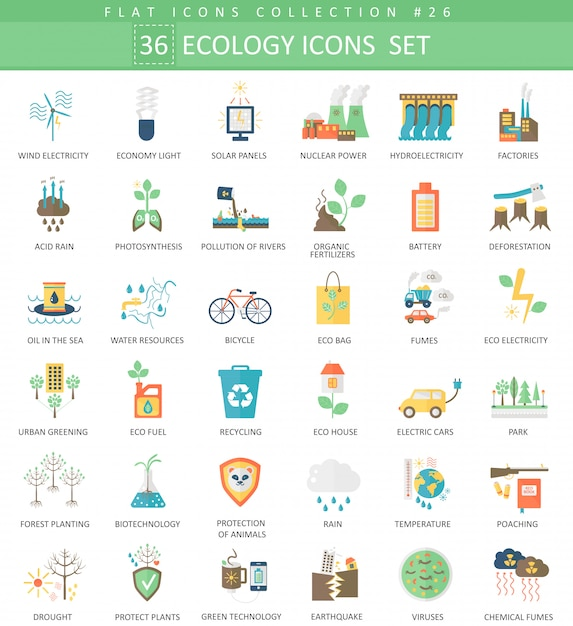 Vector ecology color flat icon set Premium Vector