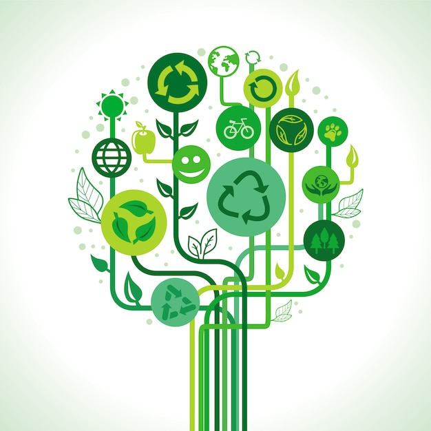 Vector ecology concept - abstract green tree with recycle signs and symbols Premium Vector