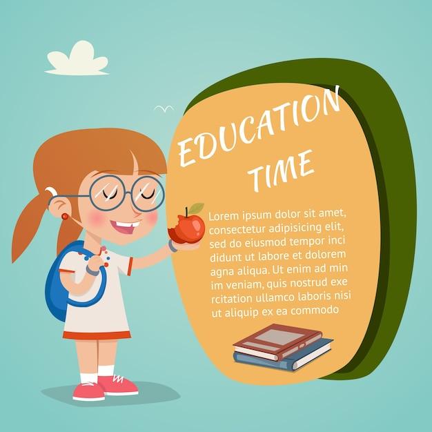 赤いリンゴを保持している幸せな女の子とベクトル教育時間の概念 無料ベクター
