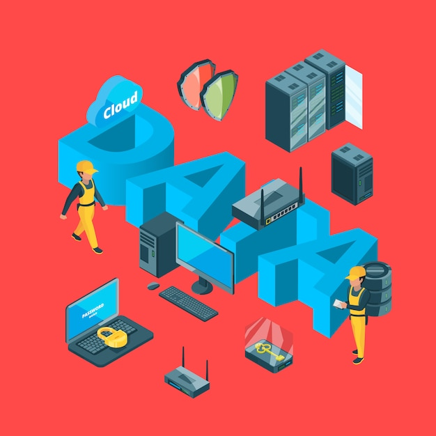 Vector electronic system of data center infographic concept illustration Premium Vector