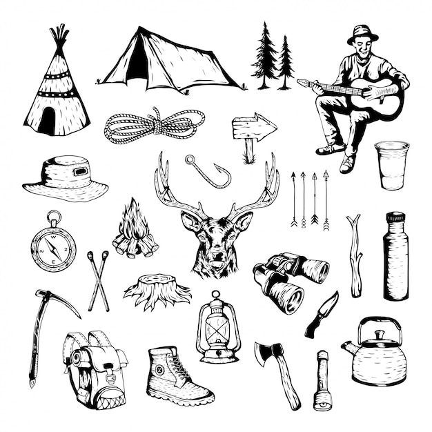Vector element of camping and outdoor adventure Premium Vector
