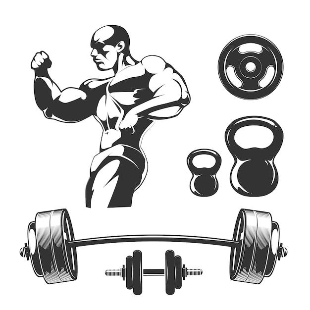 ヴィンテージフィットネスとジムのラベルのベクトル要素。スポーツフィットネスジム、ボディービルとダンベル要素、ラベルイラスト用バーベル 無料ベクター