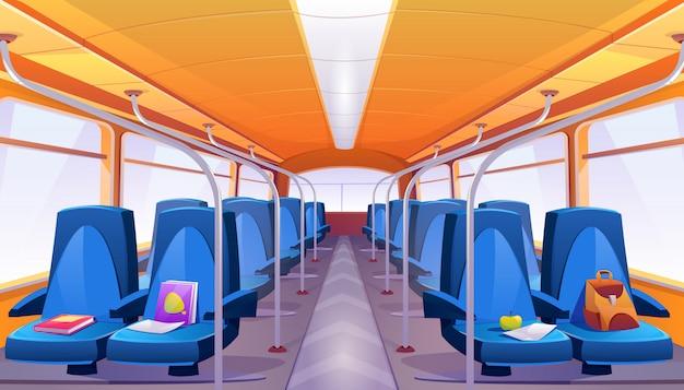 Vector empty school bus interior with blue seats Free Vector
