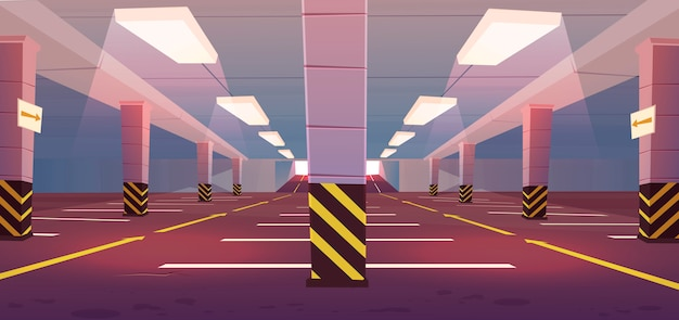 Vector empty underground car parking Free Vector