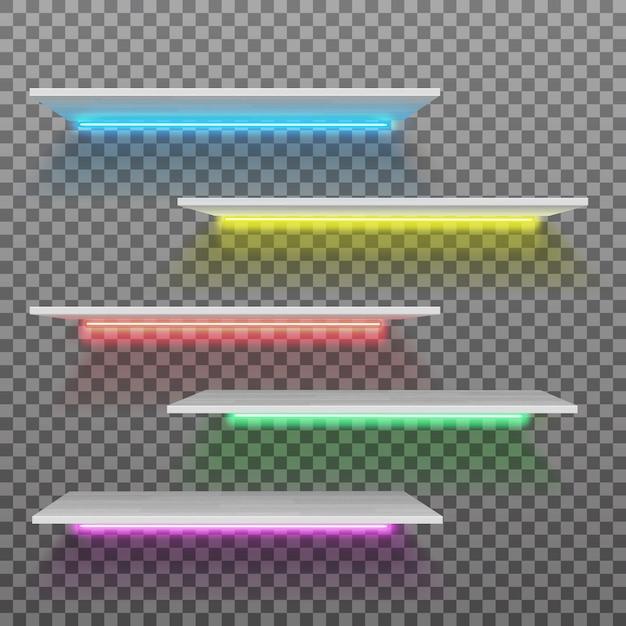 고립 된 네온 램프와 벡터 빈 흰색 플라스틱 선반 프리미엄 벡터