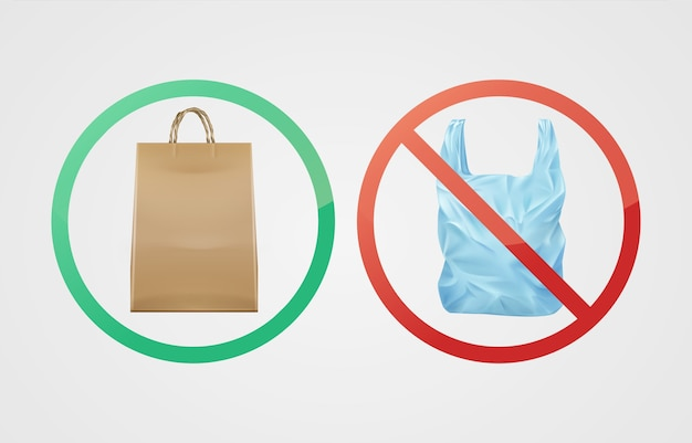 Vector environmentally friendly biodegradable paper bag against not degradable plastic Free Vector