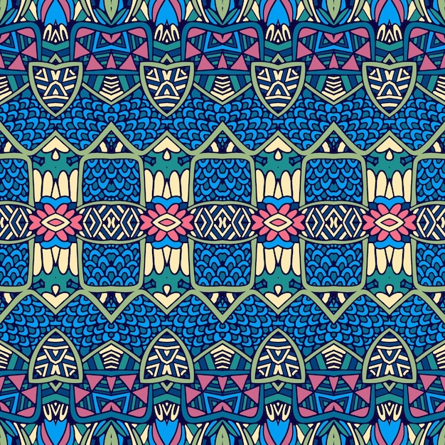 Vector ethnic abstract seamless vintage pattern background ornamental. Premium Vector