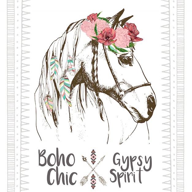 Vector fashion boho chick horse Premium Vector