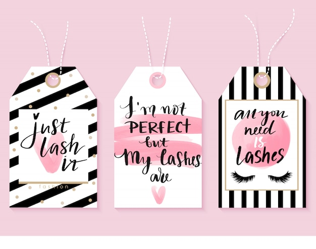 Vector fashion tags with lashes quotes. calligraphy phrase for lash makers Premium Vector