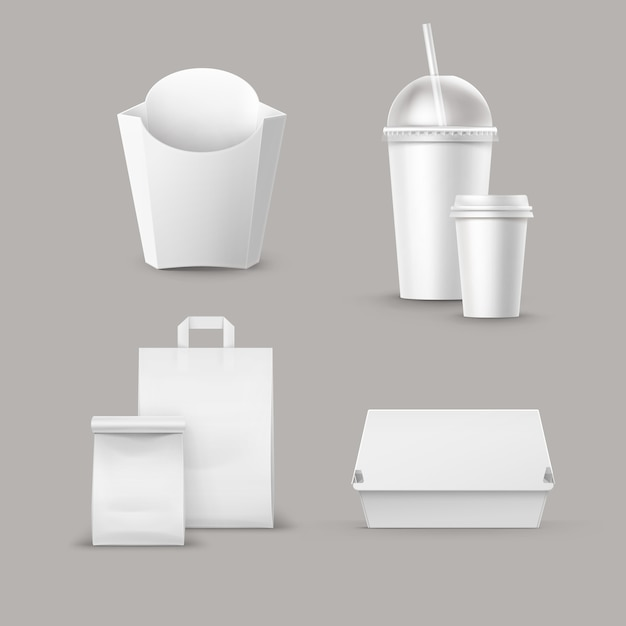 현실적인 판지 햄버거의 벡터 패스트 푸드 패키지 세트 흰색 상자에 감자 감자 튀김 밀 짚 종이와 음료에 대 한 빈 골 판지 컵 핸들 점심 가방을 빼앗아. 무료 벡터