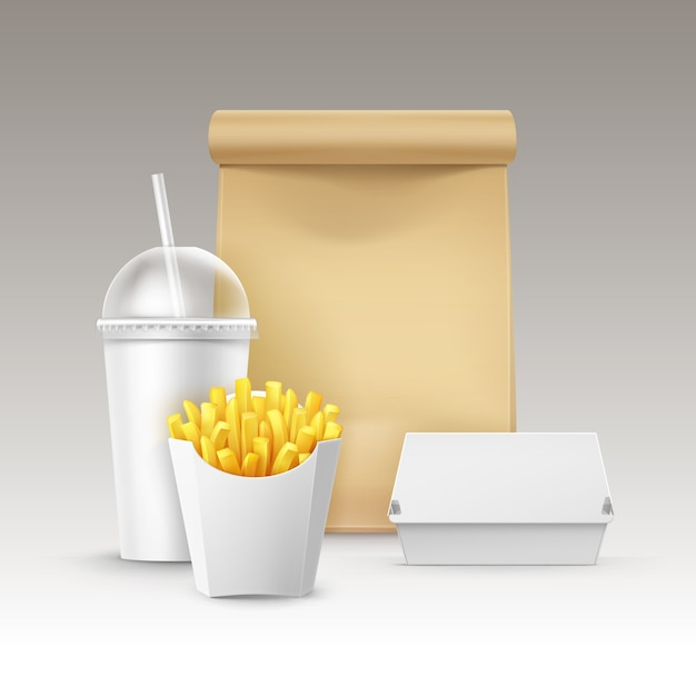 Vector fast food set of realistic carton hamburger classic burger container potatoes french fries in white package box blank cardboard cup for drinks with straw craft paper take away handle lunch bag. Free Vector