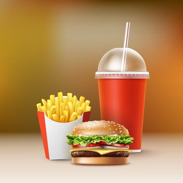 Vector fast food set di hamburger realistico hamburger classico patate fritte in scatola pacchetto rosso vuoto tazza di cartone per bibite con paglia isolato su sfondo sfocato colorato. Vettore gratuito