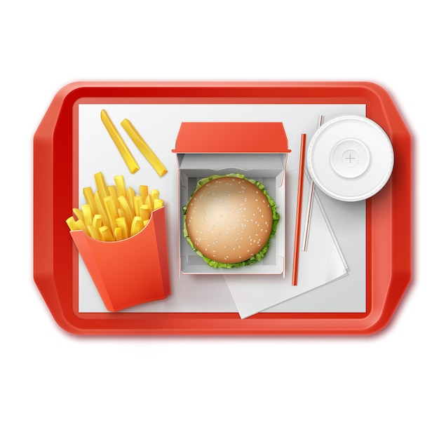 Vector fast food set of realistic hamburger classic burger potatoes french fries in red package box blank cardboard cup for soft drinks with straw on tray top view isolated on white background Free Vector