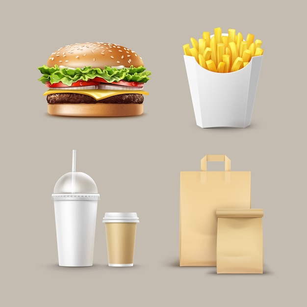 Vector fast food set of realistic hamburger classic burger potatoes french fries in white package box blank cardboard cups for coffee soft drinks with straw and craft paper take away handle lunch bags Free Vector