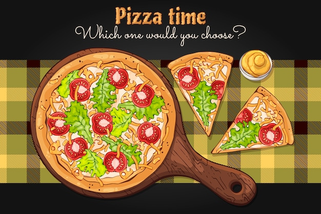 Vector. fast food theme: pizza on a board. Premium Vector