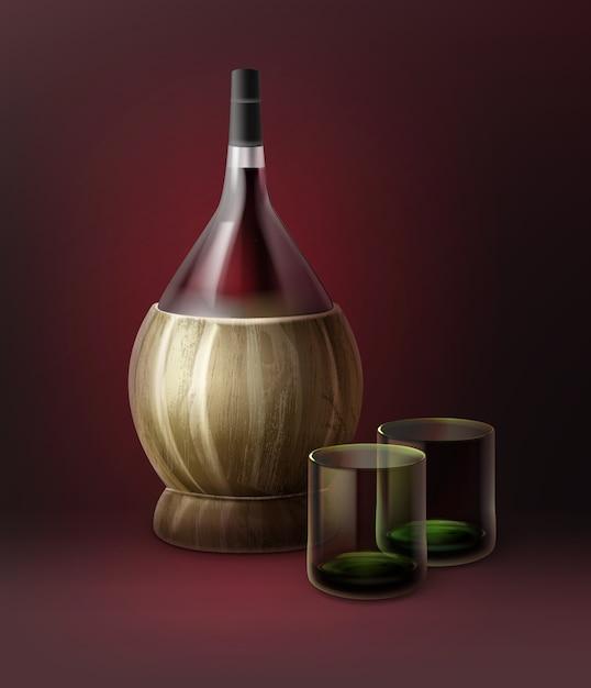 Вектор фиаско бутылки вина и два стакана, изолированные на темно-красном фоне Бесплатные векторы