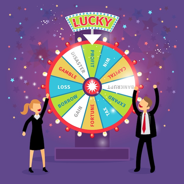Vector financial wheel of fortune. business concept. chance and risk, gamble and profit, tax and gain, borrow and loss, disaster and capital Free Vector