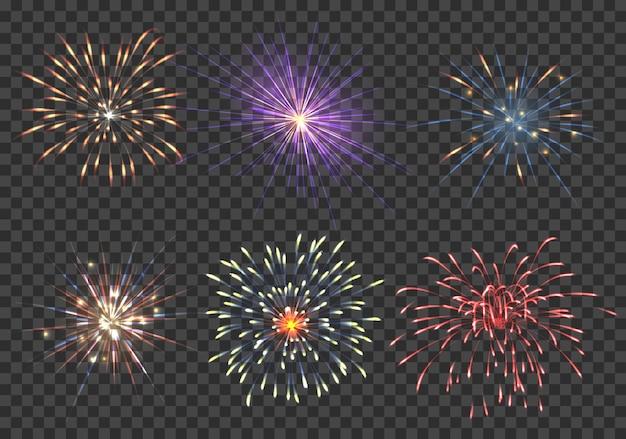 벡터 불꽃 놀이 세트. 이벤트, 스파클 및 스타, 불꽃 및 지뢰 그림 무료 벡터