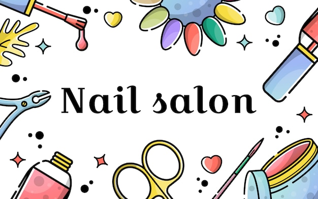 Vector flat background for nail salon Premium Vector