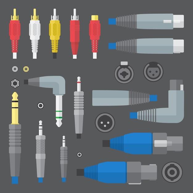 Vector flat colors various audio connectors and inputs set Premium Vector