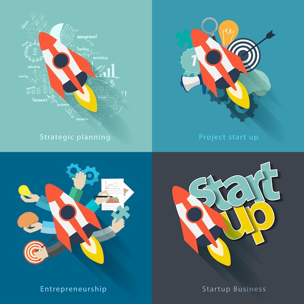 Vector flat concept background with rocket project start up Premium Vector
