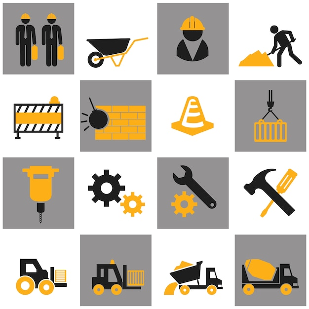 Vector flat construction icon set on colorful background. Premium Vector