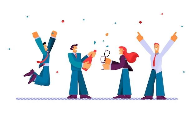 Vector flat corporate work businessman dancing. Premium Vector