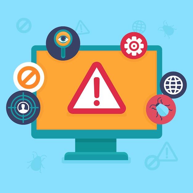 ベクトルフラット要素 - インターネットセキュリティとウイルス Premiumベクター