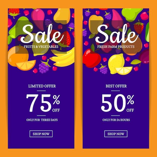 ベクトルフラットフルーツビーガンショップや市場販売チラシ、バナーのテンプレート。 bannes sale illustration Premiumベクター