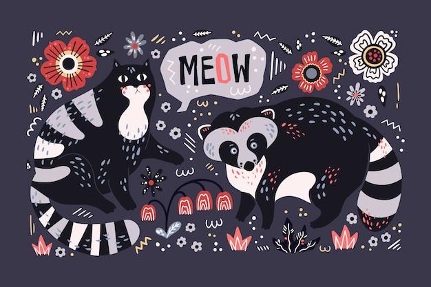 Вектор плоская рука нарисованные енот и кошка, в окружении растений и цветов. Premium векторы