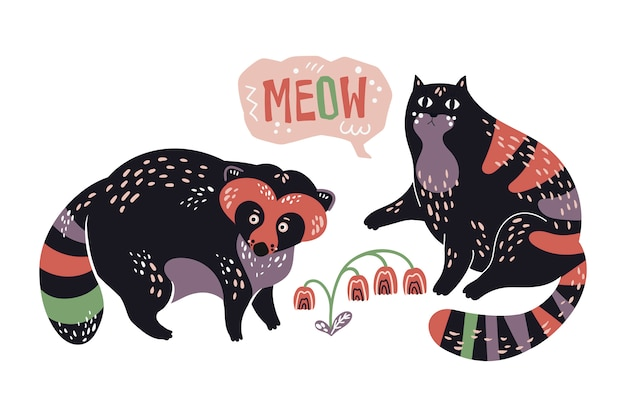 Vector flat hand drawn raccoon and cat with by flowers. Premium Vector