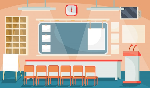 Vector flat illustration of a business interior - conference, meeting room, room for presentations Free Vector