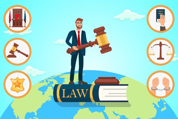 Vector flat illustration lawyer relies on law. Premium Vector
