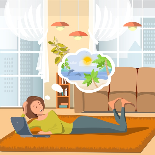 Vector flat illustration mom thinks about travel. Premium Vector