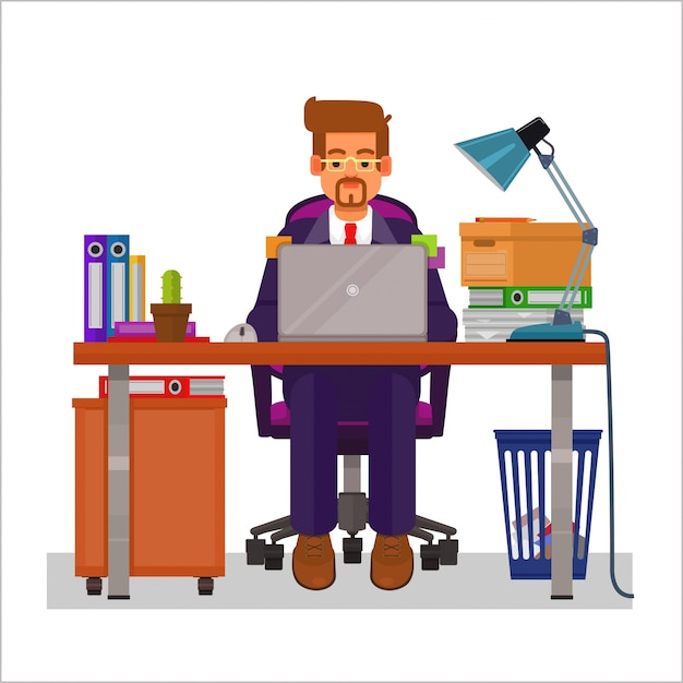 the letter people vector flat illustration of a working on the computer 13100 | vector flat illustration of a man working on the computer 1441 113