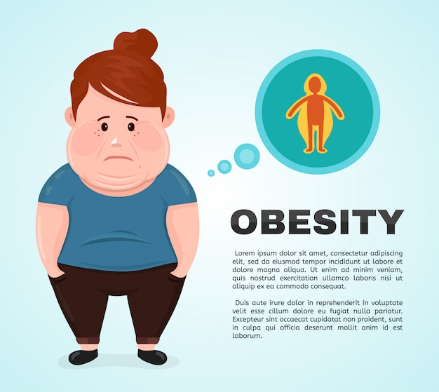 Vector flat illustration young woman character with a obesity infographic icon. Premium Vector