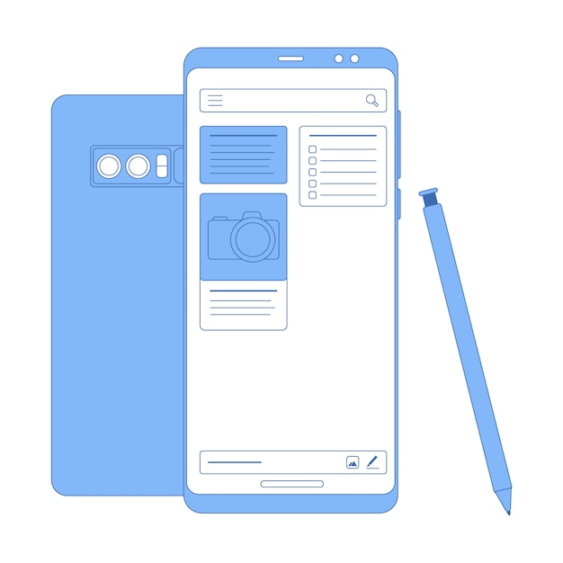Vector flat linear illustration in blue colors notes app Premium Vector