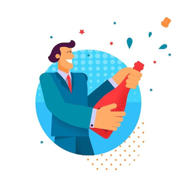Vector flat man in suit open champagne holding. Premium Vector