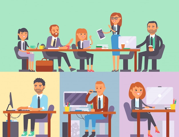 Vector flat people work place business worker person working on laptop at the table in office coworker businesswoman and businessman characters Premium Vector