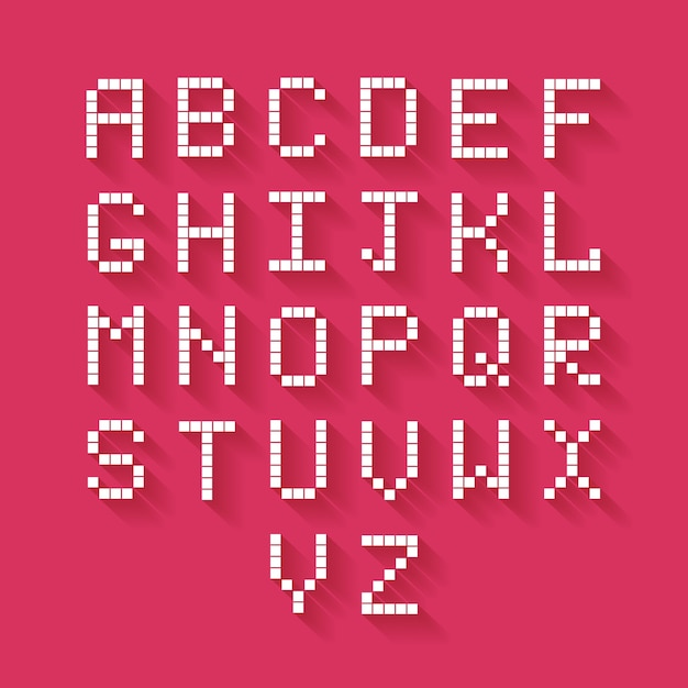 Alfabeto di pixel piatto vettoriale con lunga ombra Vettore gratuito