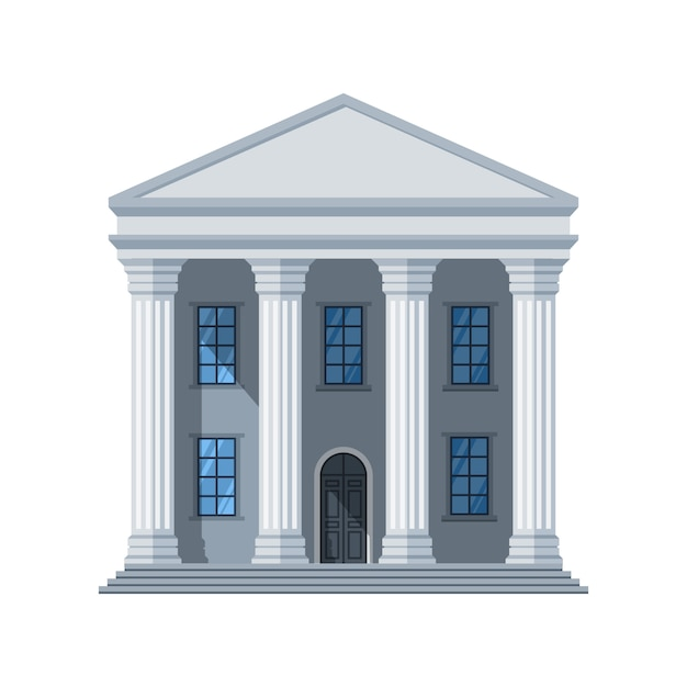 Значок вектора плоское общественное здание. административное здание города, изолированные на белом Premium векторы