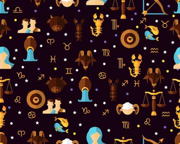 Vector flat seamless texture pattern astrological zodiac. Premium Vector