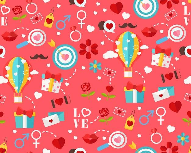 Vector flat seamless texture pattern happy valentine's day . Premium Vector