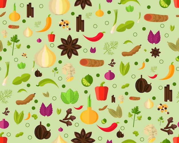 Vector flat seamless texture pattern herbs and spices. Premium Vector